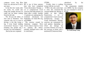 Media The Straits Times HOPE FOR PARTIALLY BLIND STROKE PATIENTS Article 7-2